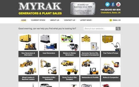 Screenshot of Home Page myrak.com - Home - Myrak Generators & Plant Sales - captured Aug. 2, 2015