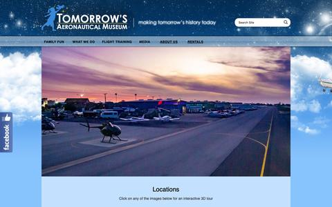 Screenshot of Locations Page tamuseum.org - Locations «  Tomorrow's Aeronautical Museum - captured May 29, 2019