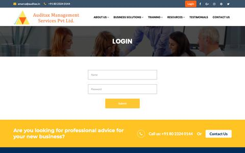 Screenshot of Login Page auditax.in - Contact    Auditax Management Services Pvt. Ltd - captured Oct. 4, 2018
