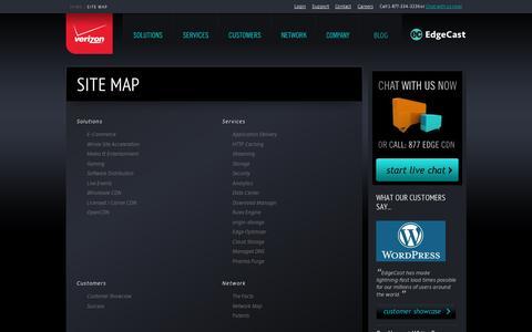 Screenshot of Site Map Page edgecast.com - EdgeCast Full Site Map | EdgeCast - captured July 18, 2014