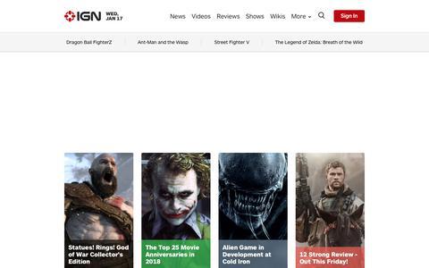 Screenshot of Home Page ign.com - Video Game News, Reviews, and Walkthroughs - IGN.com - captured Jan. 17, 2018