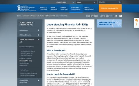Screenshot of FAQ Page aiuniv.edu - Understanding Financial Aid   AIU - captured Sept. 19, 2014