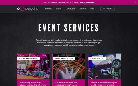 Screenshot of Services Page penguins.co.uk - Services | Event Management Company and Event Planning UK | Penguins - captured July 20, 2017