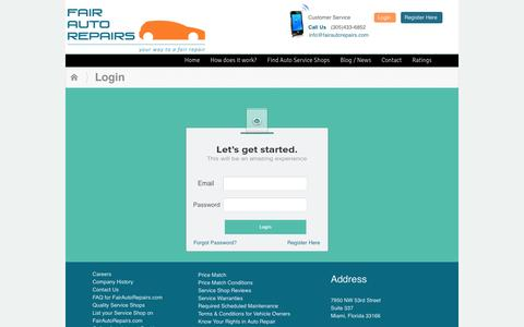 Screenshot of Login Page fairautorepairs.com - Login | FairAutoRepairs.com - captured Oct. 6, 2014