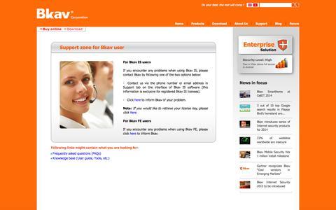 Screenshot of Support Page bkav.com - Support Information - Bkav Corporation - captured Sept. 24, 2014