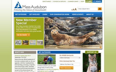 Screenshot of Home Page massaudubon.org - Mass Audubon - captured Sept. 19, 2014