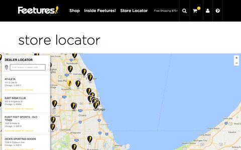 Screenshot of Locations Page feeturesrunning.com - Store Locator | Find Feetures! Running Socks Near You - captured Nov. 25, 2016