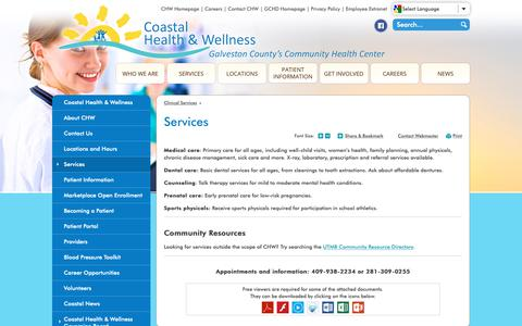 Screenshot of Services Page gchd.org - Services | Galveston County Health District - captured Oct. 25, 2018
