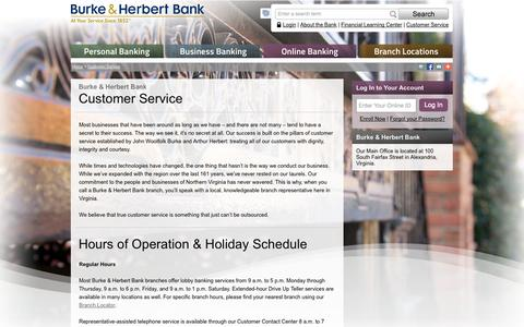 Screenshot of Contact Page Support Page Hours Page burkeandherbertbank.com - Burke & Herbert Bank - Customer Service, Hours of Operation, Contact Us - captured Sept. 23, 2014