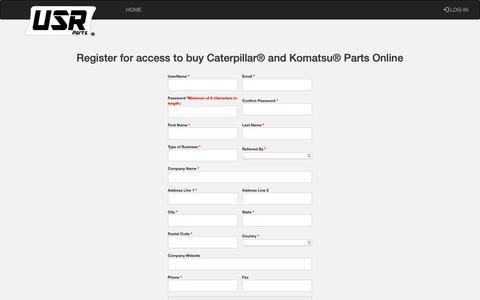 Screenshot of Signup Page usrparts.com - E-Commerce Registration Form - captured Oct. 2, 2018