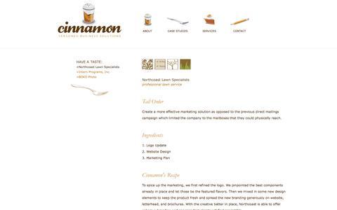 Screenshot of Case Studies Page worldofcinnamon.com - Cinnamon | Case Studies | Northcoast Lawn - captured Oct. 2, 2014