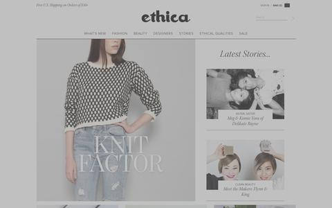 Screenshot of Home Page shopethica.com - Shop ETHICA | Ethical Fashion and Sustainable Fashion - captured Jan. 14, 2016