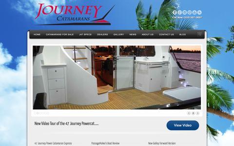 Screenshot of Home Page journeycatamarans.com - Long Range Cruising Power Catamarans by Journey Catamarans - captured Sept. 30, 2014