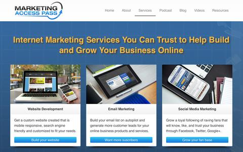 Screenshot of Services Page marketingaccesspass.com - Internet Marketing Services | Marketing Access Pass - captured Nov. 3, 2014