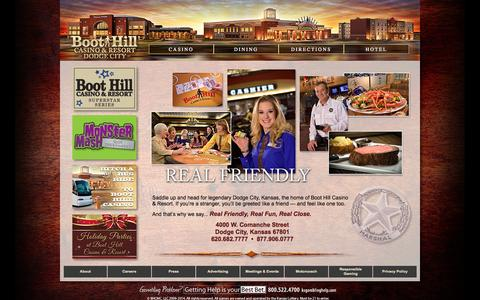 Screenshot of Home Page boothillcasino.com - Welcome to Boot Hill Casino & Resort in Dodge City, Kansas - captured Oct. 5, 2014