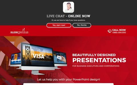 Screenshot of Landing Page slidegenius.com - PowerPoint Design Consultants | Speak With One Today | SlideGenius Presentation Consulting Experts - captured June 5, 2018