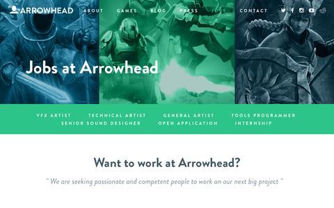 Screenshot of Jobs Page arrowheadgamestudios.com - Jobs | Arrowhead - captured May 30, 2017