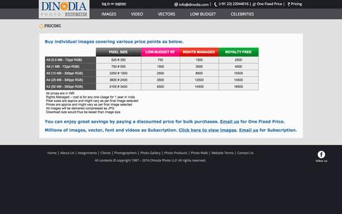 Screenshot of Pricing Page dinodia.com - Indian image pricing for stock photography photo library in Mumbai India - captured Nov. 24, 2016