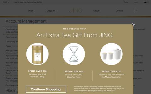 Screenshot of FAQ Page jingtea.com - FAQs - JING Tea - captured March 24, 2018