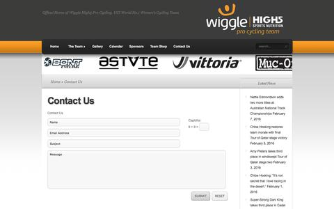 Screenshot of Contact Page wigglehighfive.com - Contact Us | Wiggle High5 Pro Cycling - captured Feb. 21, 2016