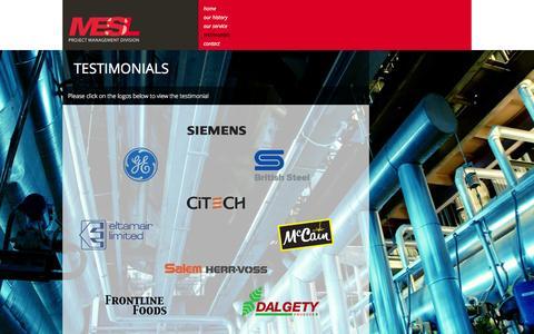 Screenshot of Testimonials Page mesprojectmanaging.co.uk - Testimonials - Mechanical Engineering Services Ltd - captured Oct. 4, 2014