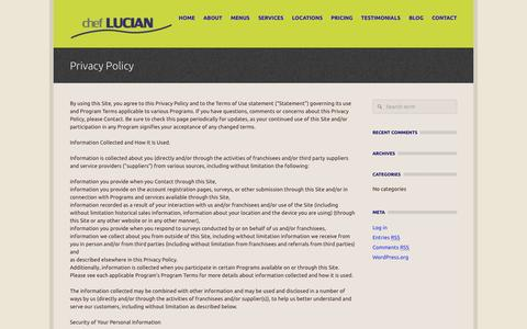 Screenshot of Privacy Page cheflucian.com - Privacy Policy  - Chef Lucian- Personal Chef in London - captured Oct. 2, 2014