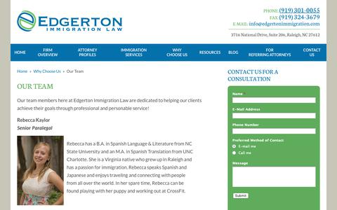 Screenshot of Team Page edgertonimmigration.com - Our Team - Edgerton Immigration Law - captured Nov. 10, 2018