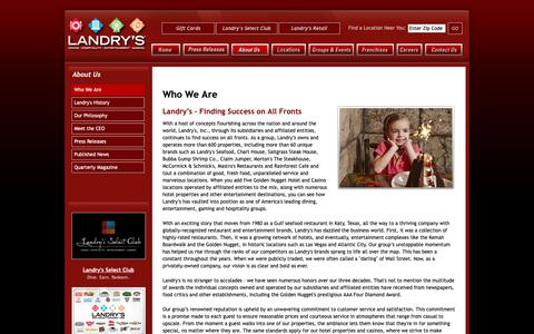 Screenshot of About Page landrysinc.com - Landry's Inc. - The Leader in Dining, Hospitality and Entertainment - captured Jan. 20, 2019