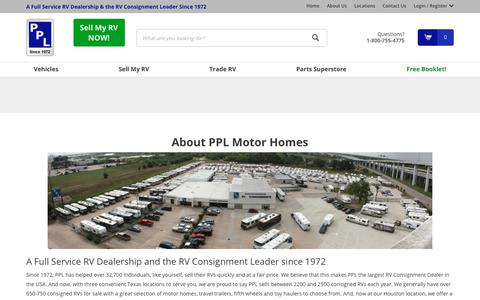 Screenshot of About Page pplmotorhomes.com - Largest Consignment Lot in the US  | PPL Motor Homes - captured Sept. 28, 2018