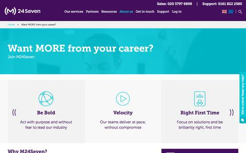 Screenshot of Jobs Page m247.com - Want MORE from your career? - M24Seven - captured March 4, 2018