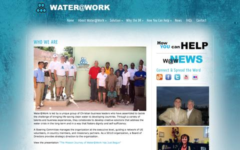 Screenshot of About Page wateratworkministry.org - About Water@Work | Water at Work Ministry - captured Oct. 27, 2014