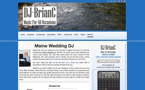 Screenshot of Home Page djbrianc.us - Maine Wedding DJ   Maine DJ Services   DJS in Maine - captured Sept. 30, 2014