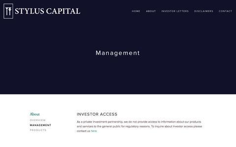 Screenshot of Team Page styluscapital.com - Management — Stylus Capital - captured Oct. 9, 2014