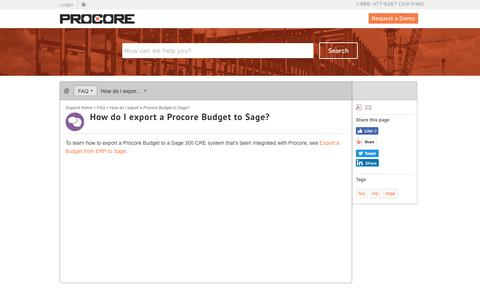 How do I export a Procore Budget to Sage? - Procore