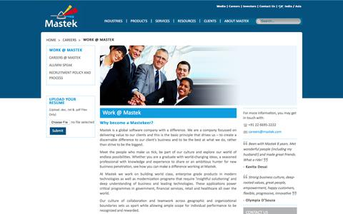 Screenshot of Jobs Page mastek.co.in - Mastek: Careers – Work @ Mastek - captured July 7, 2017