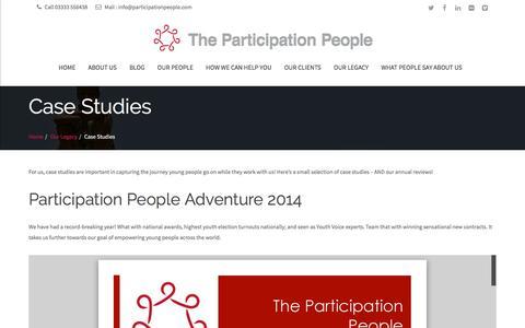 Screenshot of Case Studies Page participationpeople.com - Case Studies - captured July 11, 2016