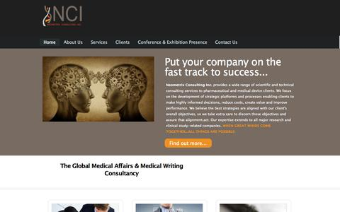 Screenshot of Home Page neometrixconsulting.com - Neometrix Consulting Inc. | The Global Medical Affairs & Medical Writing ConsultancyNeometrix Consulting Inc. | The Global Medical Affairs & Medical Writing Consultancy - captured Oct. 6, 2014