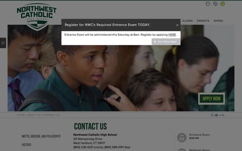 Screenshot of Contact Page northwestcatholic.org - Northwest Catholic: Contact Us - captured Dec. 1, 2016