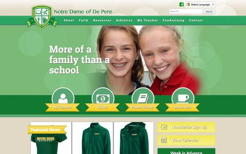 Screenshot of Home Page notredameofdepere.com - Notre Dame of De Pere - Bringing Faith and Knowledge together. - captured Oct. 9, 2015