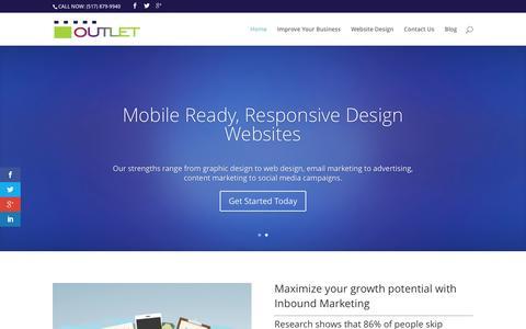 Screenshot of Home Page outletgd.com - Marketing, WordPress, logo, website design, Jackson, MI - captured Feb. 26, 2016
