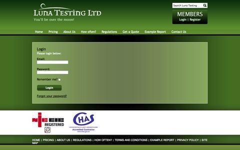 Screenshot of Login Page lunatestingltd.co.uk - Luna Testing Ltd - captured Sept. 30, 2014