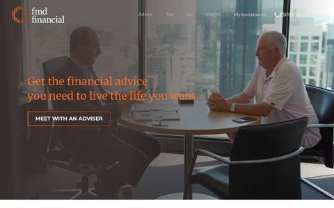 Screenshot of Home Page fmd.com.au - FMD Financial: Trusted financial planners in Melbourne, Brisbane, Adelaide - captured Oct. 9, 2018