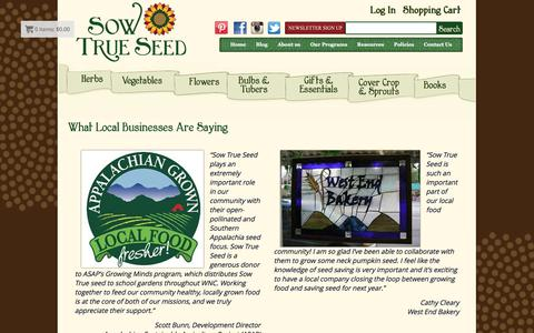 Screenshot of Testimonials Page sowtrueseed.com - What Local Businesses Are Saying - Sow True Seed - Open Pollinated & Heirloom Garden Seeds - captured May 12, 2016