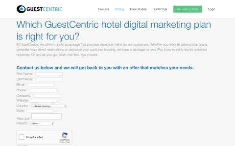 Screenshot of Pricing Page guestcentric.com - Pricing for GuestCentric's digital marketing for hotels - captured July 12, 2018