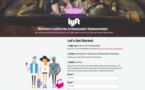 Screenshot of Landing Page lyft.com - Bay Area Ambassador Giveaway - captured Oct. 23, 2016