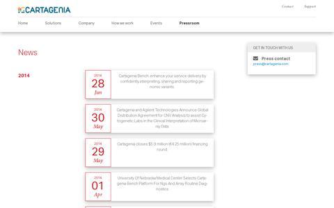 Screenshot of Press Page cartagenia.com - Cartagenia  » Pressroom - captured July 19, 2014