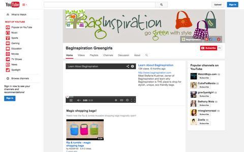 Screenshot of YouTube Page youtube.com - BagInspiration Greengirls  - YouTube - captured Oct. 23, 2014
