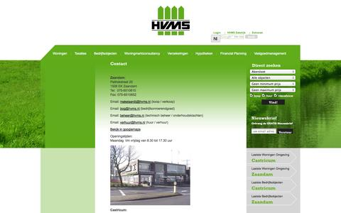 Screenshot of Contact Page hvms.nl - Contact | HVMS - captured Oct. 1, 2014