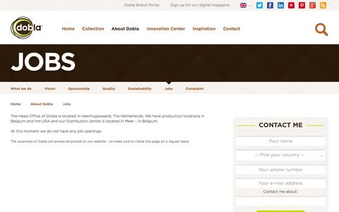 Screenshot of Jobs Page dobla.com - Dobla.com - Chocolate decorations and chocolate cups - Jobs at Dobla - captured Sept. 30, 2014