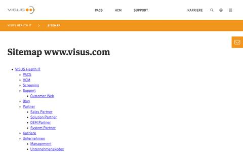 Screenshot of Site Map Page visus.com - Sitemap - VISUS Health IT GmbH - captured Oct. 20, 2018